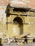 Wall of abandoned ruined building after earthquake Stock Photography