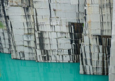 Wall of active grey granite quarry Royalty Free Stock Photos