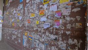 Wall with advertising stock footage