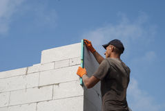 Wall of aerated concrete Stock Image