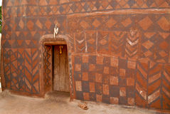 Wall with african tribal painting Stock Photos