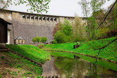 Wall of Agger dam in Gummersbach Stock Photo