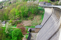 Wall of Agger dam in Gummersbach Royalty Free Stock Image