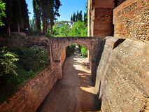 The wall of Alcazaba fortress, Alhambra Royalty Free Stock Photo