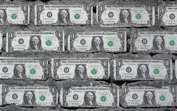 Wall from the American dollars. Royalty Free Stock Image