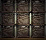 Wall of amps. A wall with nine amps for guitar stock photos