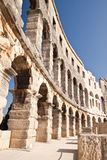 Wall of the ancient amphitheater in Pula. Croatia. Ancient Roman Amphitheater in Istria. Pula Stock Image