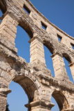 Wall of the ancient amphitheater in the sky. Wall of the ancient amphitheater closeup. Pula. Croatia Stock Images