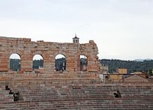 Wall of ancient Arena di Verona and the bleachers Royalty Free Stock Photos