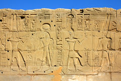 Wall with ancient egypt images and hieroglyphics Stock Photos