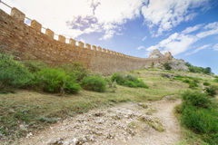 Wall of ancient fortress Stock Images