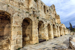 Wall of ancient theater, Herodes Atticus Odeon. Wall of ancient theater of Herodes Atticus Odeon, Athens, Greece royalty free stock images