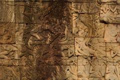 Wall in Angkor Wat temple Stock Photos