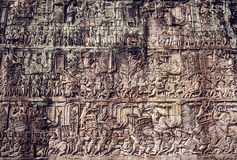 Wall in Angkor Wat temple Stock Photo