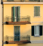 Wall of an apartment building in sunset light, Mon Stock Image