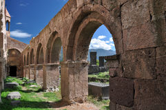 Wall with arches. Odzun, Armenia Royalty Free Stock Photography