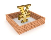 Wall around golden yen symbol. Stock Photos