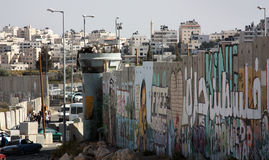 The Wall around Ramallah, Palestine. Ramallah, Palestine, surrounded by the controversial Israeli wall that separates the State of Israel from West Bank royalty free stock images