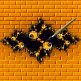 Wall art. Grafiti on a brick wall with a paint brush small drop of paint on brush vector illustration