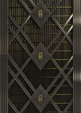 Wall art deco style made of steel and gold background render Stock Photography