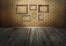 Wall with art frames royalty free stock images