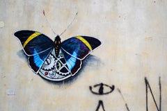 Wall Art graffiti butterfly stock photography