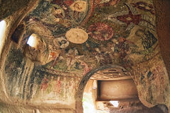 Wall art of old frescoes in the  Church , Goreme Stock Images