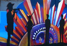 Wall Art Ringwood ANZAC Day Remembrance Stock Images