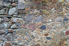 Wall background. Crude patched masonry exterior wall background royalty free stock photo