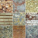 Wall background collage Stock Photos