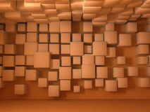 Wall Background, Cubes. Room interior 3d background, wall covered in cubes Royalty Free Stock Image