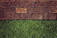Wall Background on green grass Royalty Free Stock Photography