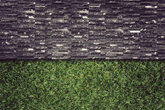 Wall Background on green grass Royalty Free Stock Photo