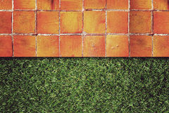 Wall Background on green grass Stock Image