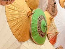 Background made from colorful paper umbrellas Stock Photography