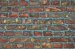 Wall background from old bricks. Cracks, damage, scratches on dirty bricks. Wall background textures from old bricks. Cracks, damage, scratches on dirty bricks royalty free stock images