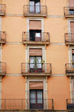 A wall of balconies in Barcelona, Spain. Stock Photos