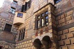 Wall with balcony of castle Cesky Krumlov Stock Photo