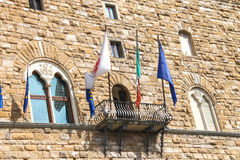 Wall and balcony of the Palazzo Vecchio. Florence, Italy Stock Images