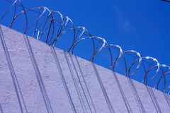 Wall with barbed wire.. Stock Photo