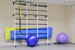 Wall bars with fitness balls Royalty Free Stock Image