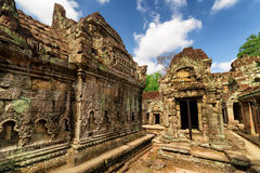 Wall with bas-relief of ancient Preah Khan temple in Angkor Stock Photography