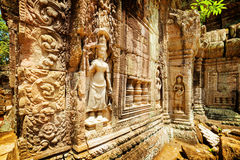 Wall with bas-relief of ancient Ta Som temple, Angkor, Cambodia Royalty Free Stock Photos
