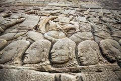 Wall bas-relief in Angkor Wat complex Stock Image