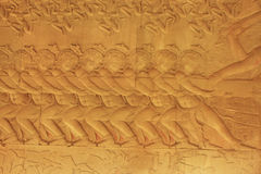 Wall bas-relief, Angkor Wat temple Stock Image