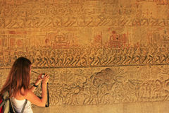 Wall bas-relief, Angkor Wat temple Stock Photography