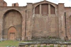 Wall of Basilica Santa Maria degli Angeli e dei Martiri. Rome, Italy - August 17, 2015: Wall of Basilica Santa Maria degli Angeli e dei Martiri in Piazza della Stock Image
