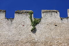 Wall with battlements, Austria, Europe. Ruins of of a wall with battlements in Durnstein in Lower-Austria, Austria, Europe Royalty Free Stock Images