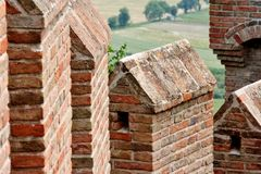 Wall with battlements of Gradara castle, Central Italy Royalty Free Stock Photos