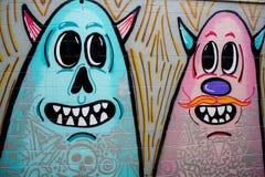 Wall with beautiful graffiti, street art.  Stock Photography